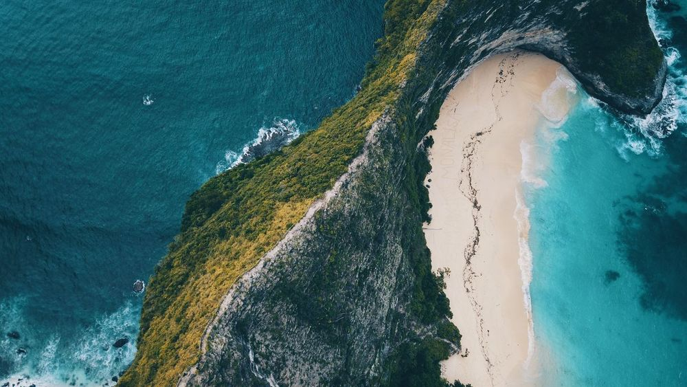 top view on the road to secret beach Dronephotography Water Sea High Angle View Nature Beach Day Land Beauty In Nature No People Blue Sand