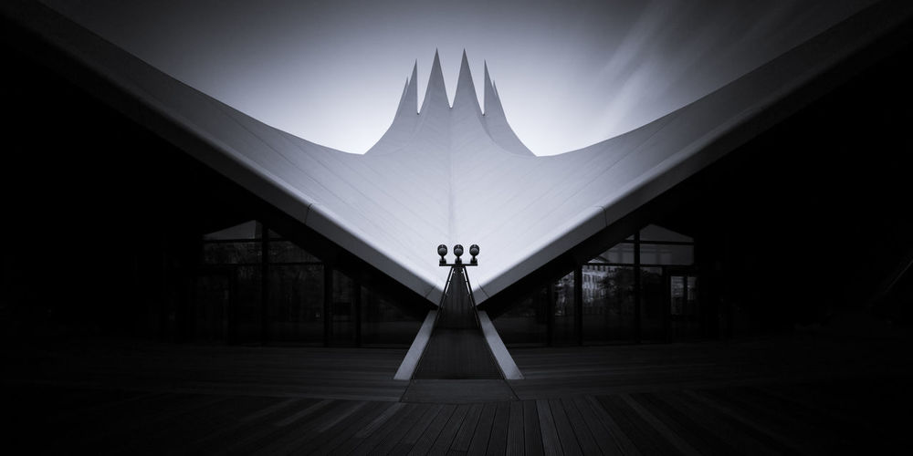 Low Angle View Of Floodlights At Tempodrom Event Hall