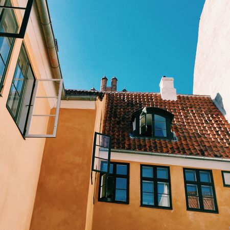 Façade Apartment Backyard Facades Home Sweet Home Denmark Exterior Design Facade Detail Wall - Building Feature Open Window Architecture Architectural Feature Exterior Windows Exterior View Home Wall Walls Colorful Turquoise Sky And Building Backyard Photography Backyardphotography Apartment Buildings Outside