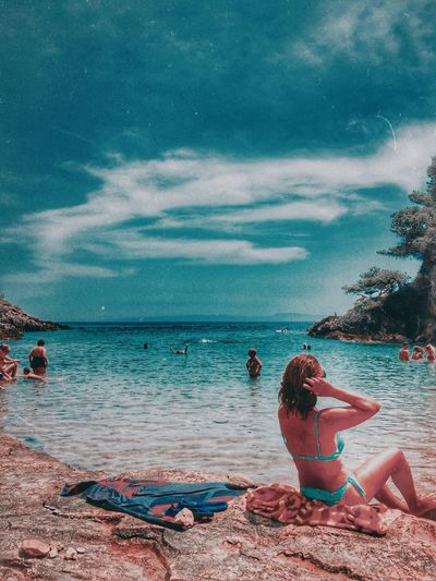 sunny Water Sea Land Beach Sky Cloud - Sky One Person Leisure Activity Real People Beauty In Nature Women Adult Scenics - Nature Holiday Vacations Sand Lifestyles Nature