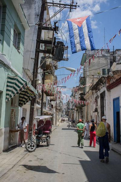 Street scene in central Havana, cuba. Building Exterior City City Life Cuba Cuban Flag Habana Vieja Havana Street Scene Tourism Travel Travel Destinations