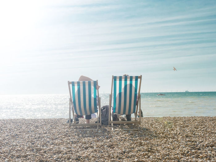 Weekend scape Brighton Absence Beach Beauty In Nature Chair Couple - Relationship Day Hammock Horizon Horizon Over Water Land Mindfulness Nature No People Outdoors Sand Scenics - Nature Sea Seat Sky Tranquil Scene Tranquility Water