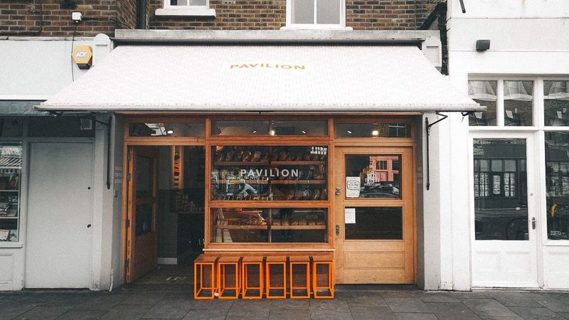 • P A V I L I O N • Pavilion Window Vibe Bread Baked Goods Store Store Front East London Broadway Market Branding Trendy Smart Modern Goods Good Food Produce Food Shop Architecture Building Exterior Façade Outdoors