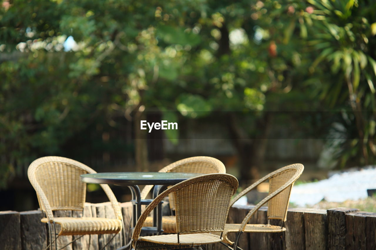 View Of Empty Chairs And Table In Backyard