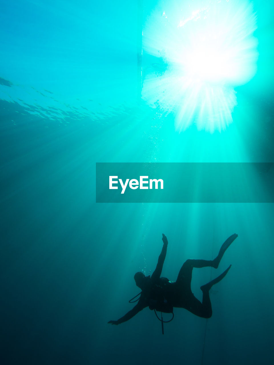 Full Length Of Person Scuba Diving In Sea