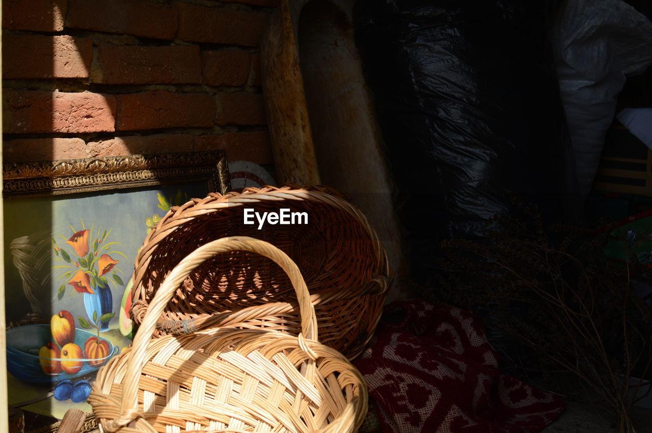 Sunlight falling on wicker baskets in back yard