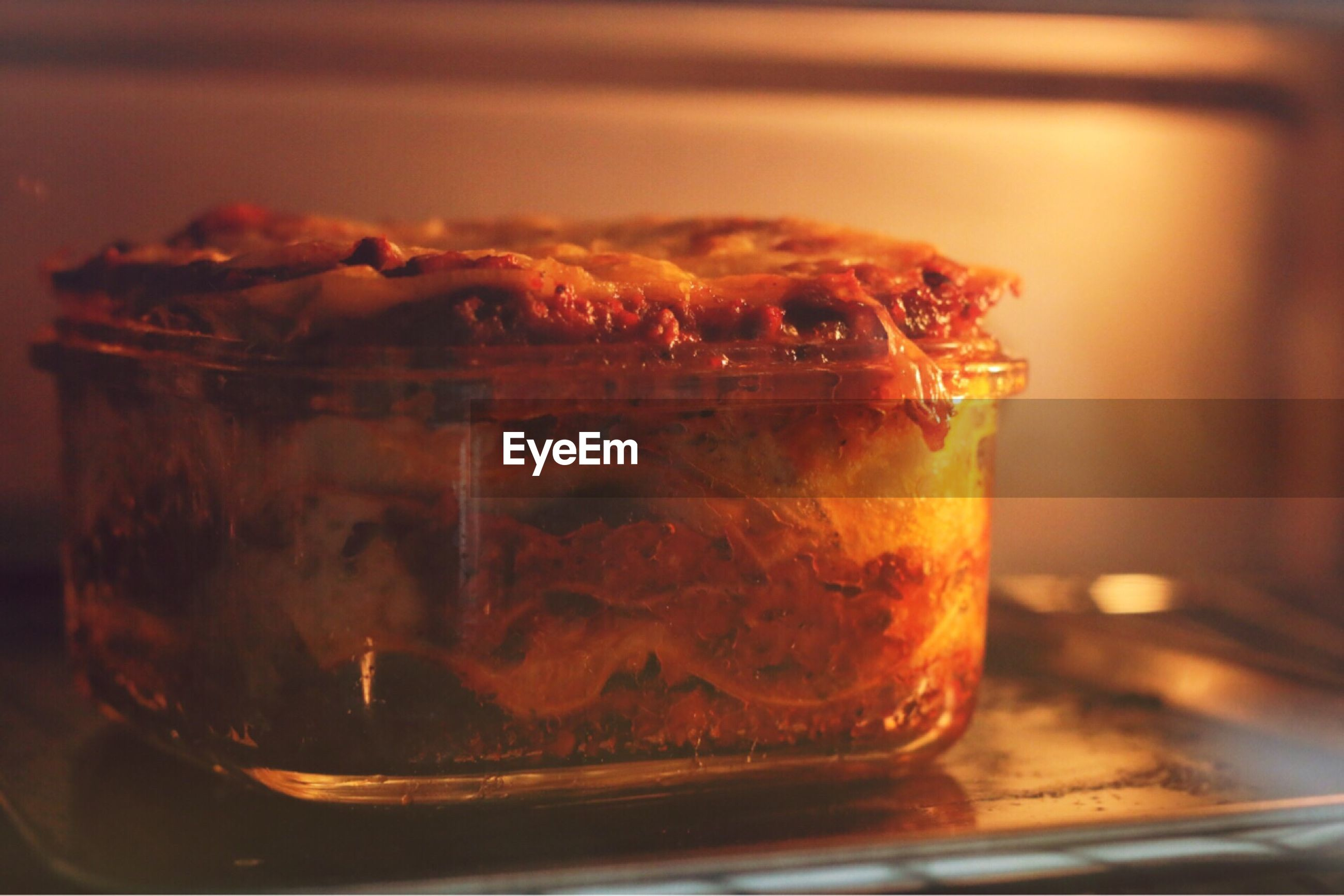 Close-up of lasagna in oven