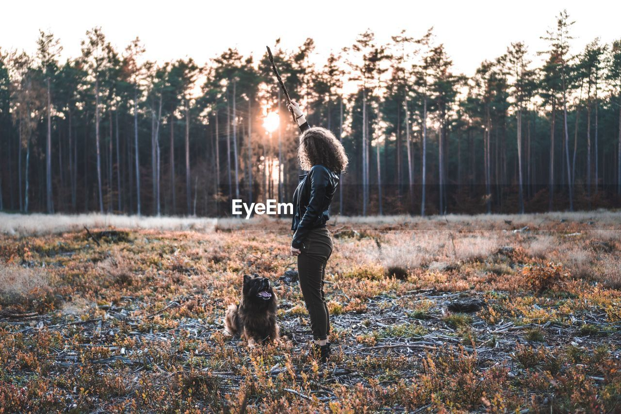 mammal, one animal, tree, pets, domestic, dog, canine, domestic animals, animal themes, full length, animal, plant, one person, land, real people, leisure activity, nature, lifestyles, vertebrate, forest, warm clothing, pet owner