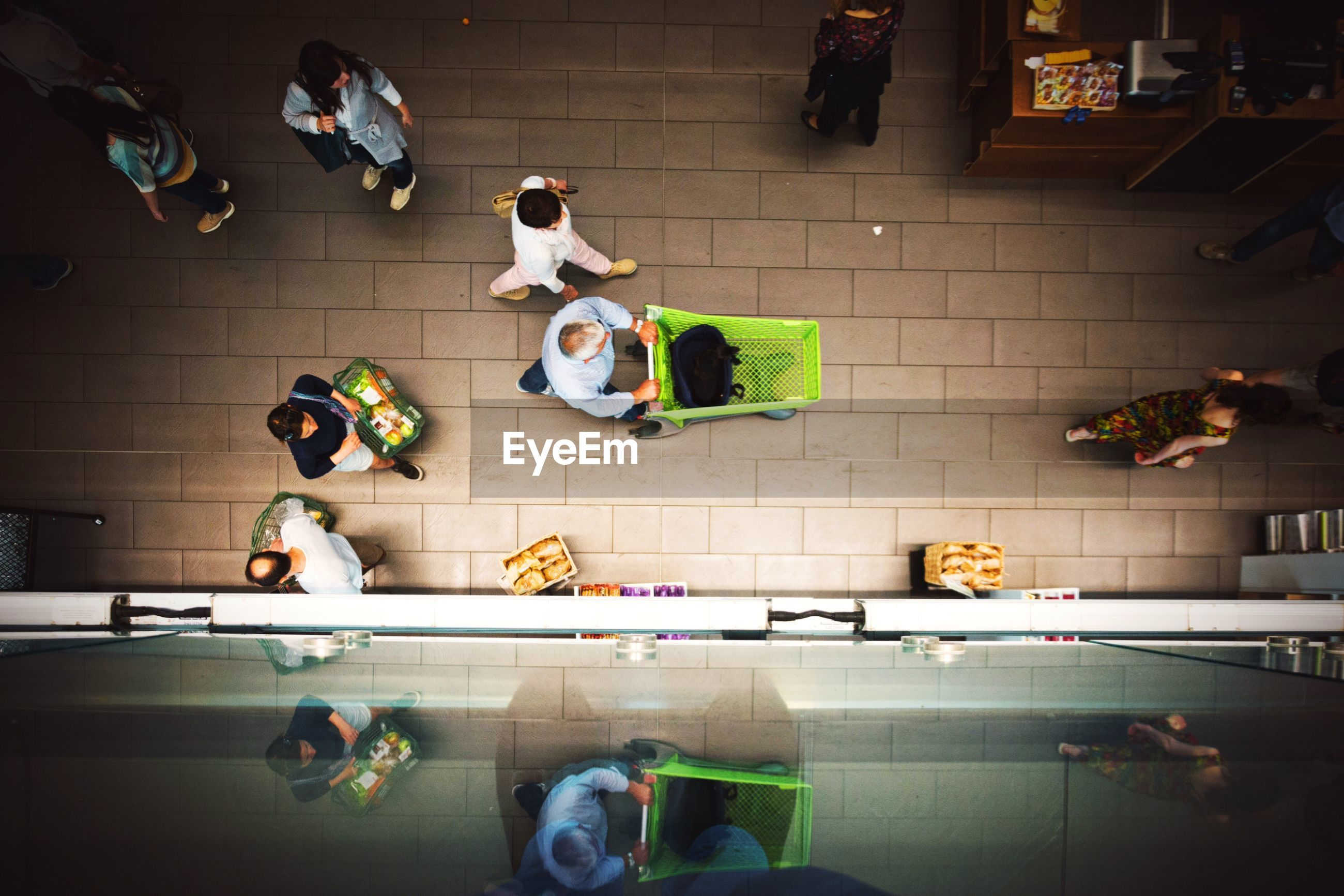 Directly above shot of people shopping in mall