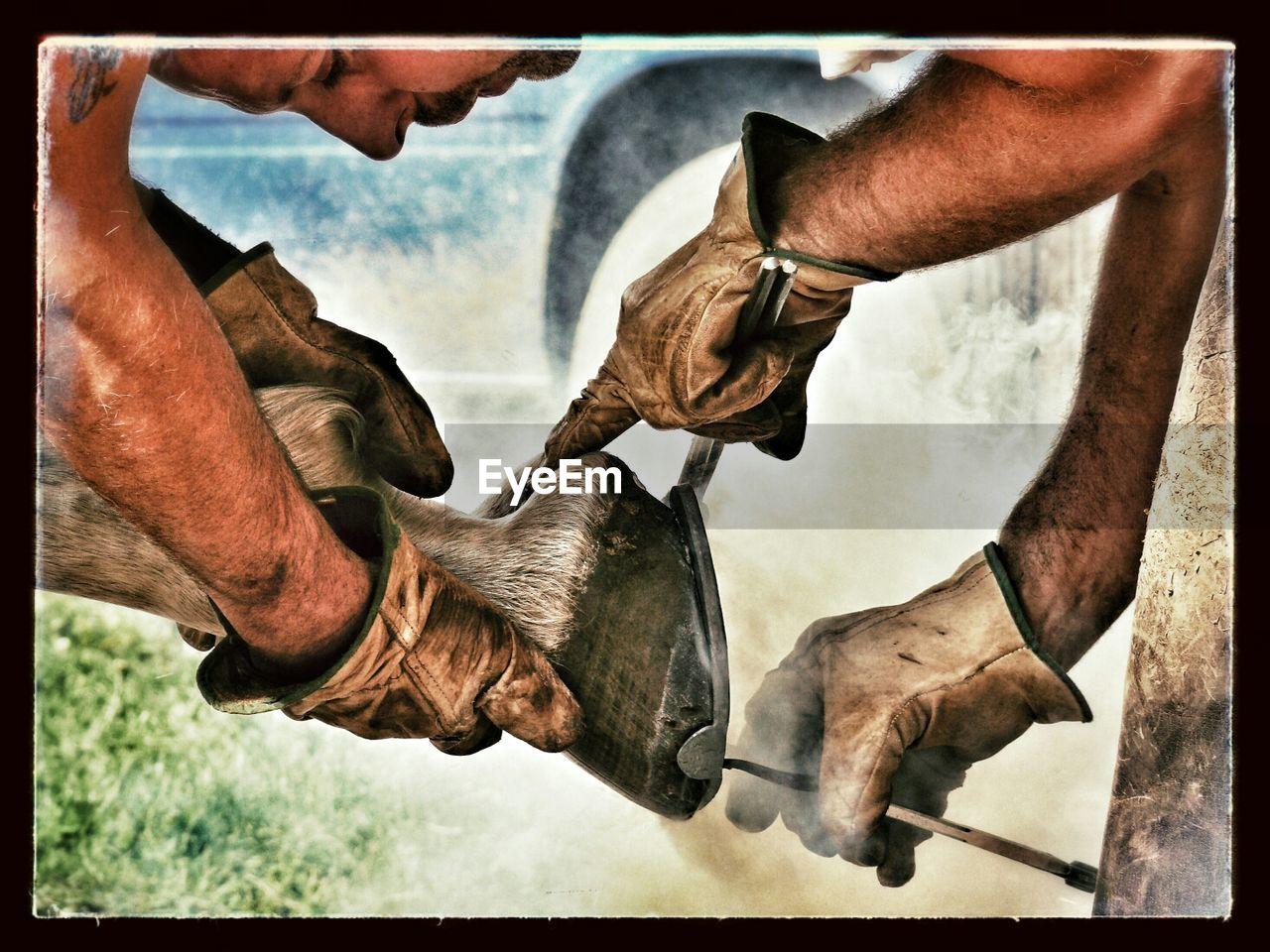 Two men shoe a horse