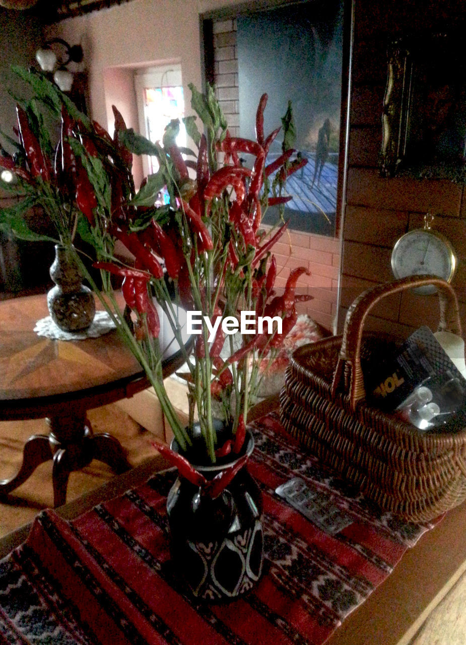 indoors, home interior, table, vase, no people, flower, day