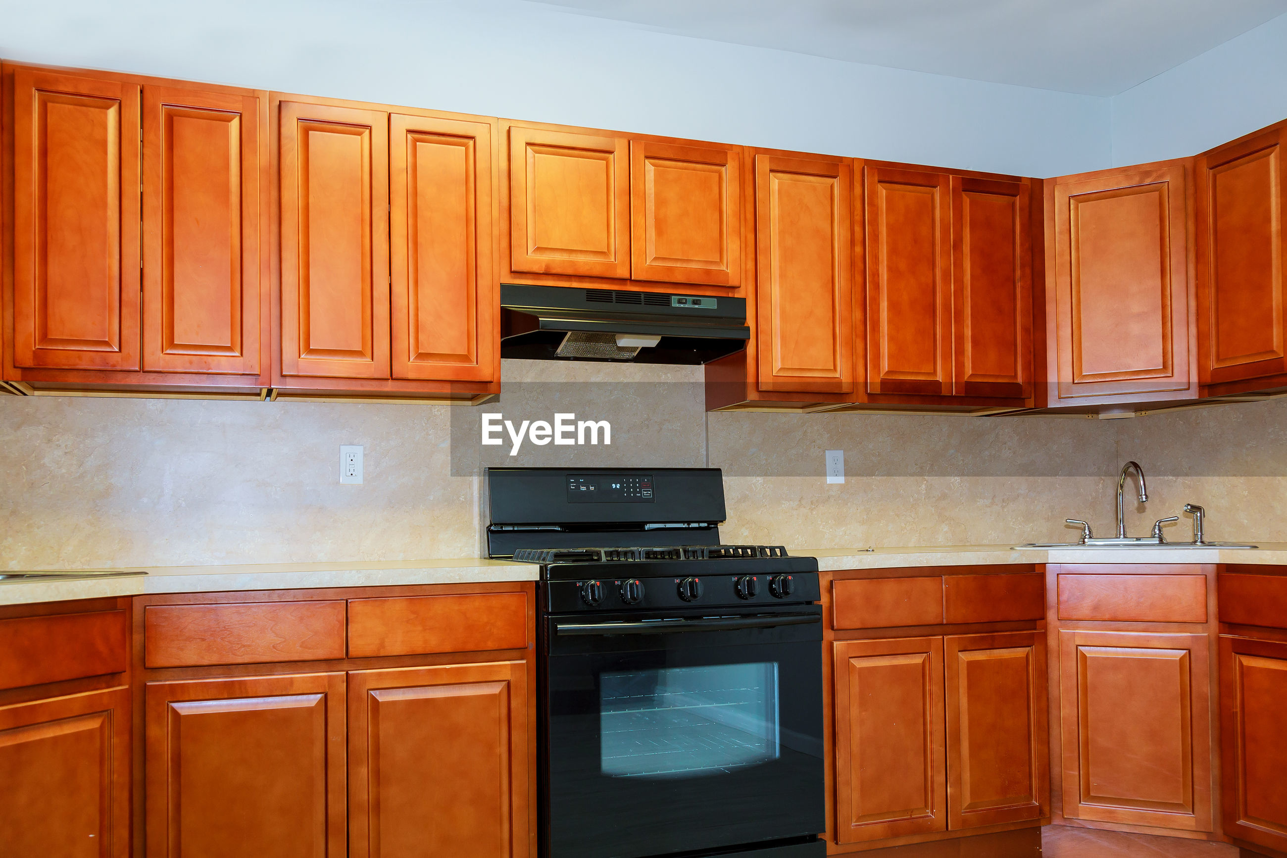 Wooden cabinets in kitchen