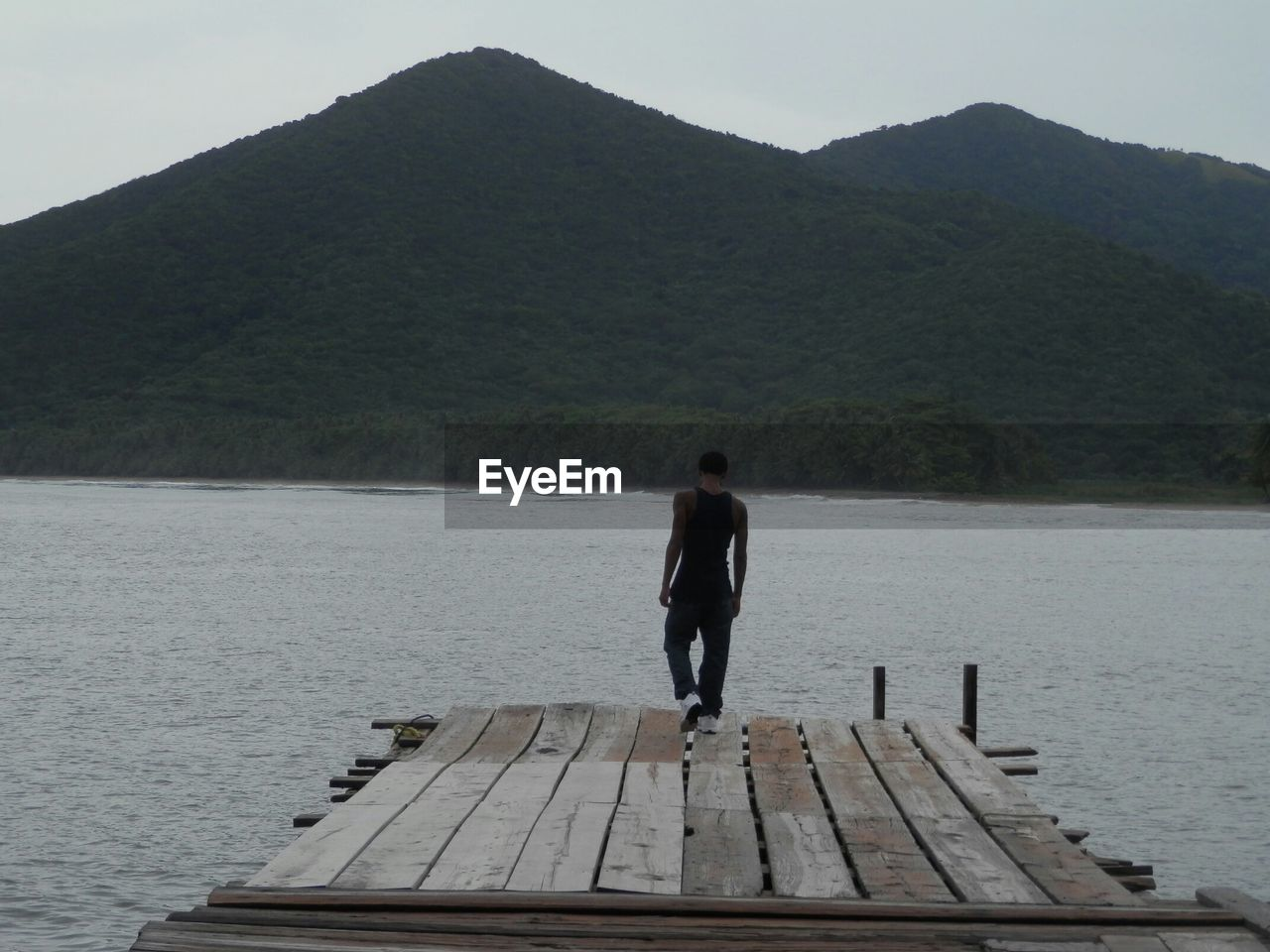 Rear view of man standing on pier by lake