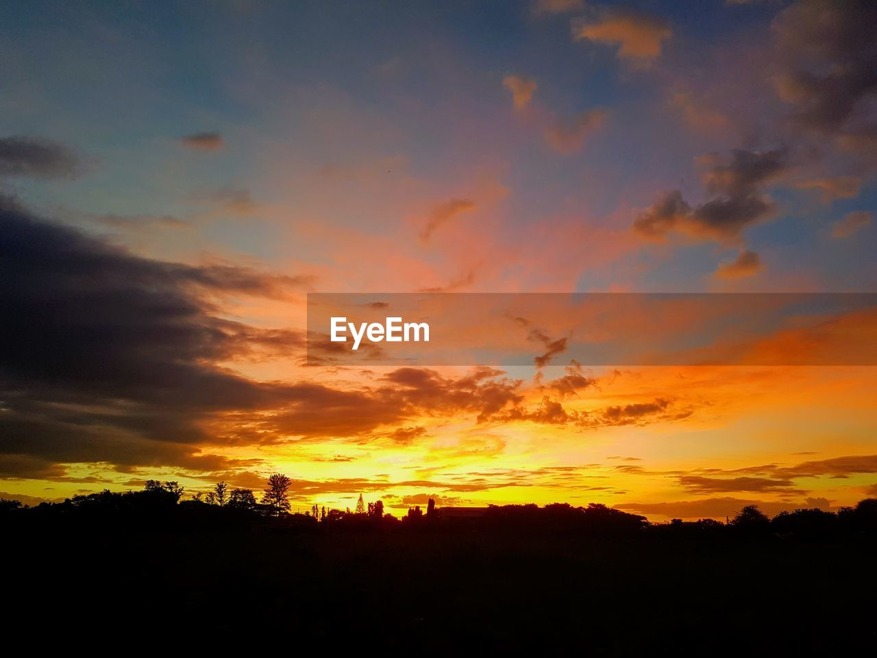 sunset, silhouette, orange color, sky, nature, dramatic sky, beauty in nature, no people, tranquil scene, scenics, tranquility, tree, outdoors