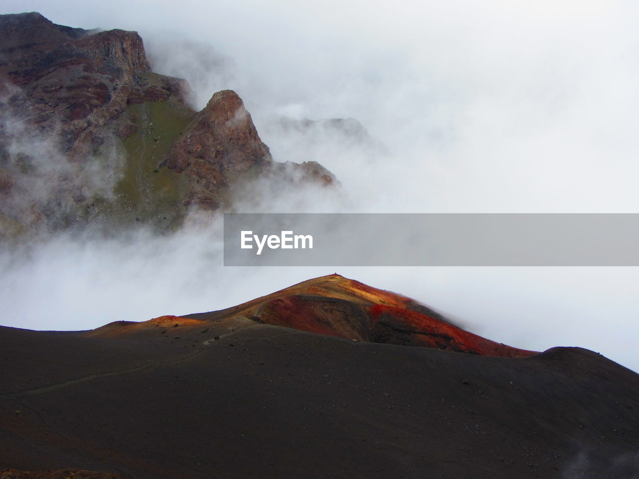 mountain, beauty in nature, volcano, geology, non-urban scene, scenics - nature, tranquil scene, smoke - physical structure, landscape, no people, environment, nature, tranquility, sky, physical geography, land, power in nature, volcanic landscape, day, power, outdoors, volcanic crater, mountain peak, arid climate