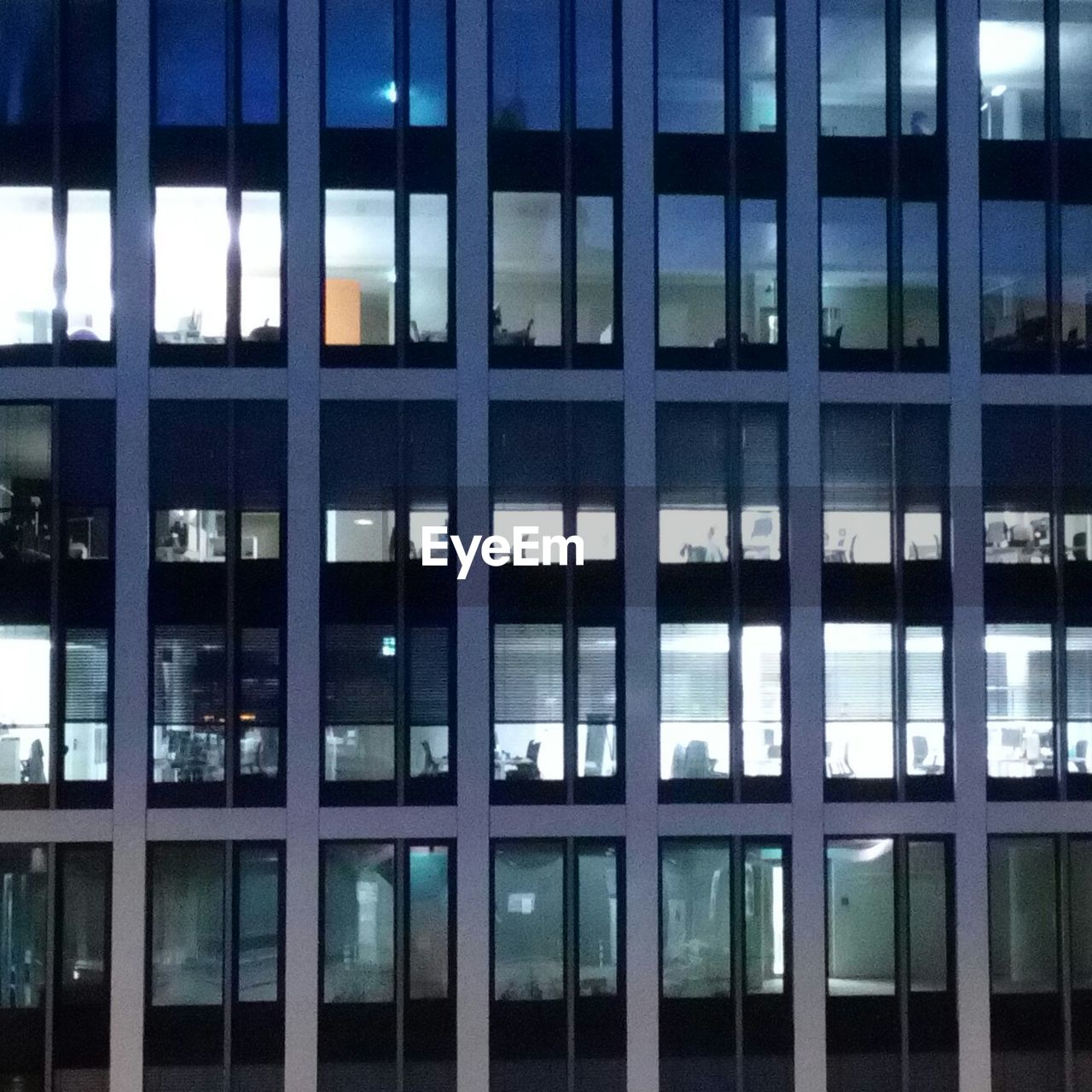 architecture, window, built structure, building exterior, modern, no people, full frame, illuminated, night, blue, city, indoors