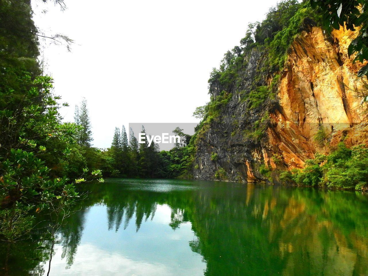 tree, reflection, nature, beauty in nature, tranquil scene, scenics, tranquility, water, lake, idyllic, rock - object, no people, outdoors, day, clear sky, sky, green color, adventure, cliff, mountain, growth, forest