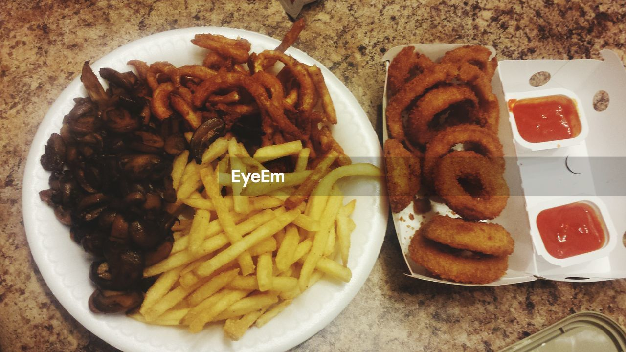 food, food and drink, french fries, plate, unhealthy eating, ready-to-eat, prepared potato, fried, freshness, serving size, indoors, indulgence, deep fried, fast food, sausage, no people, close-up, day