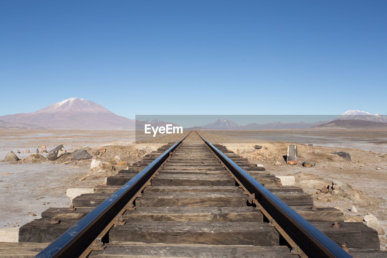 Railroad Track On Landscape Against Clear Blue Sky
