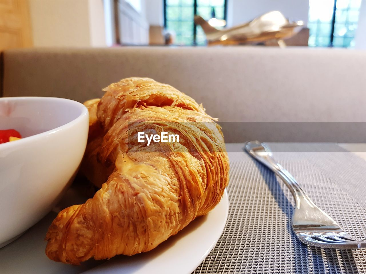 croissant, food and drink, plate, food, indoors, table, close-up, focus on foreground, ready-to-eat, freshness, no people, day