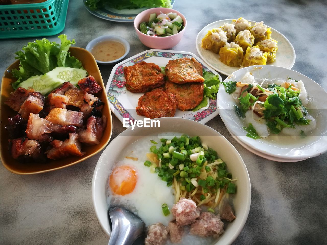 food and drink, food, ready-to-eat, freshness, table, healthy eating, meat, plate, bowl, high angle view, wellbeing, serving size, choice, indoors, variation, vegetable, meal, still life, no people, salad, tray, temptation, chinese food