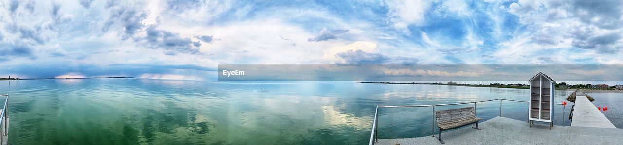 water, sky, cloud - sky, beauty in nature, nature, sea, panoramic, scenics - nature, tranquility, tranquil scene, day, no people, idyllic, outdoors, railing, travel, non-urban scene, architecture, travel destinations, bay
