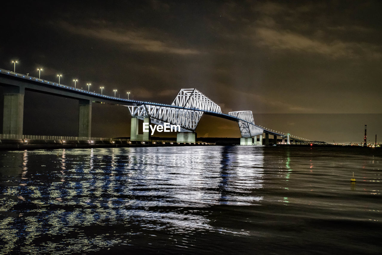 bridge - man made structure, connection, architecture, built structure, suspension bridge, engineering, transportation, river, water, night, waterfront, illuminated, no people, sky, outdoors, travel, travel destinations, city, building exterior, nature