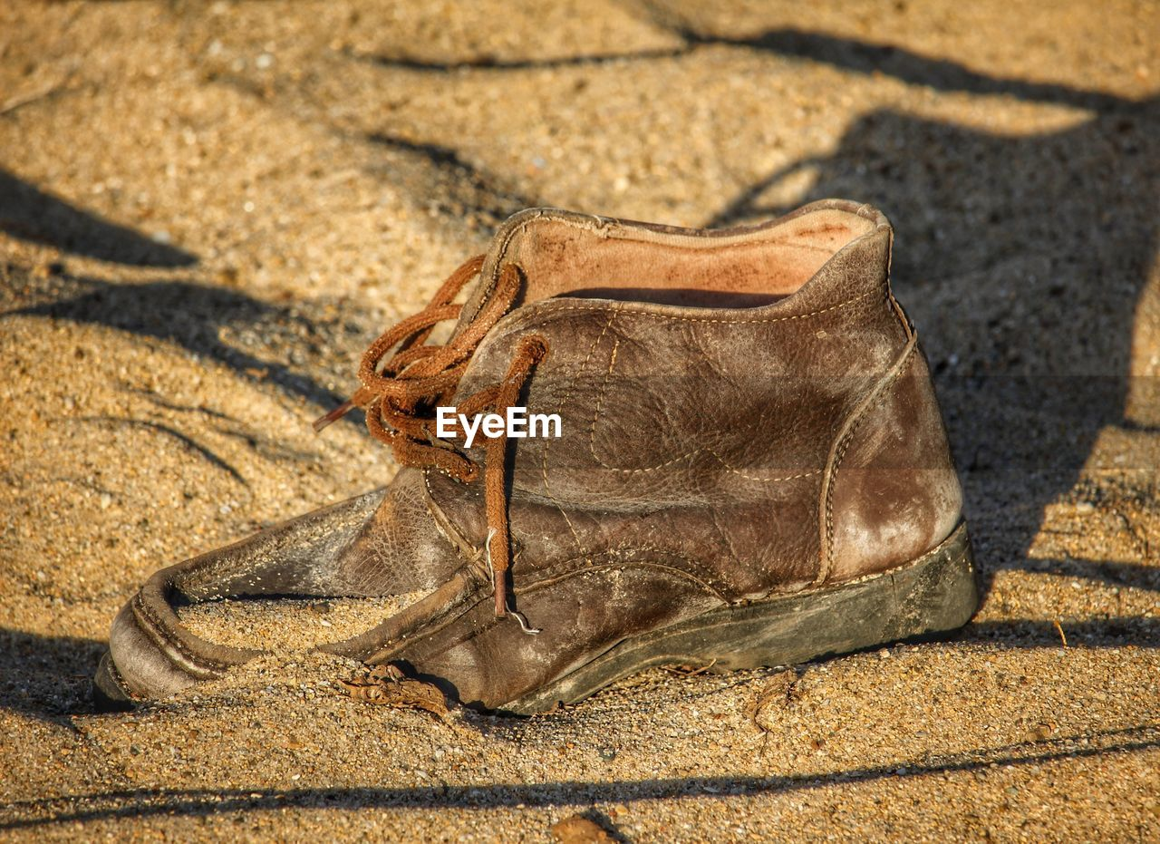 High Angle View Of Shoe On Sand At Beach