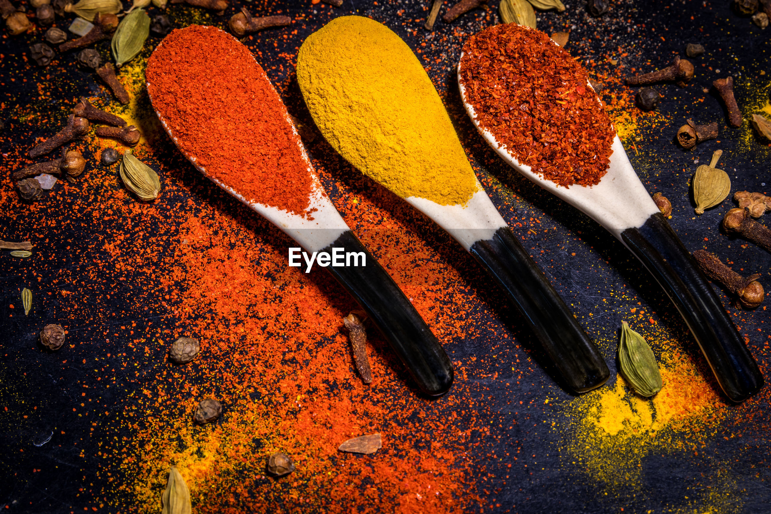 High angle view of spices on table