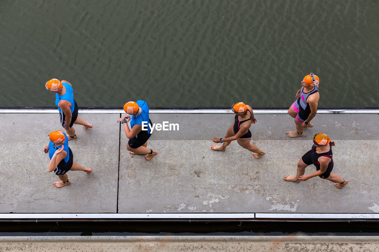 high angle view, day, men, teamwork, outdoors, water, competition, competitive sport, sportsman, people