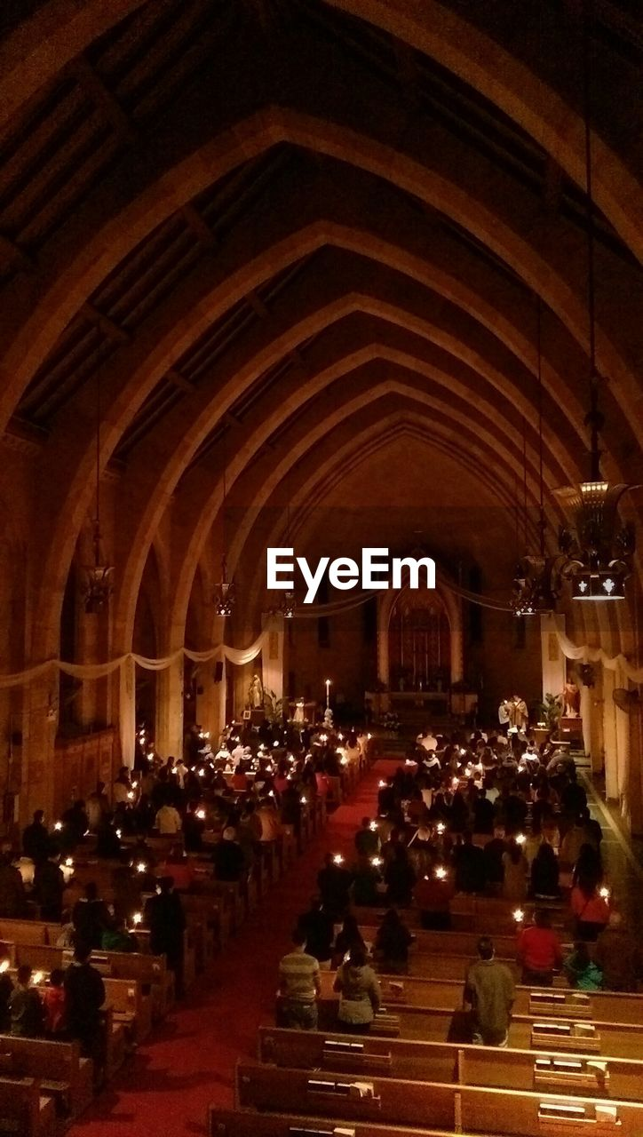 High angle view of people in church