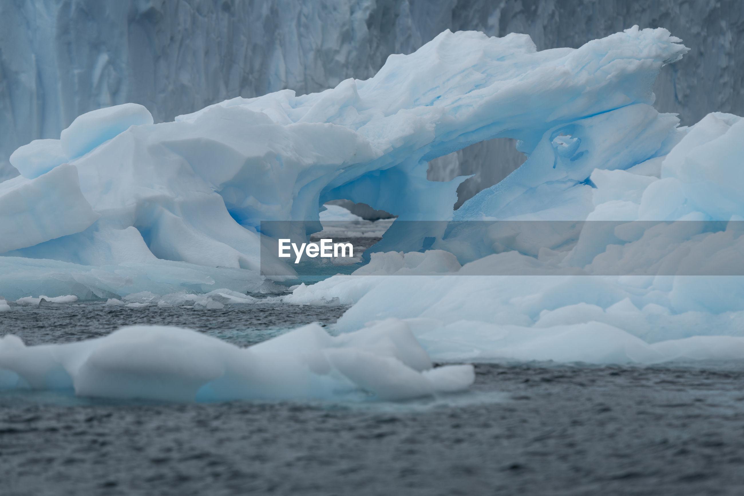 Scenic view of glacier in sea