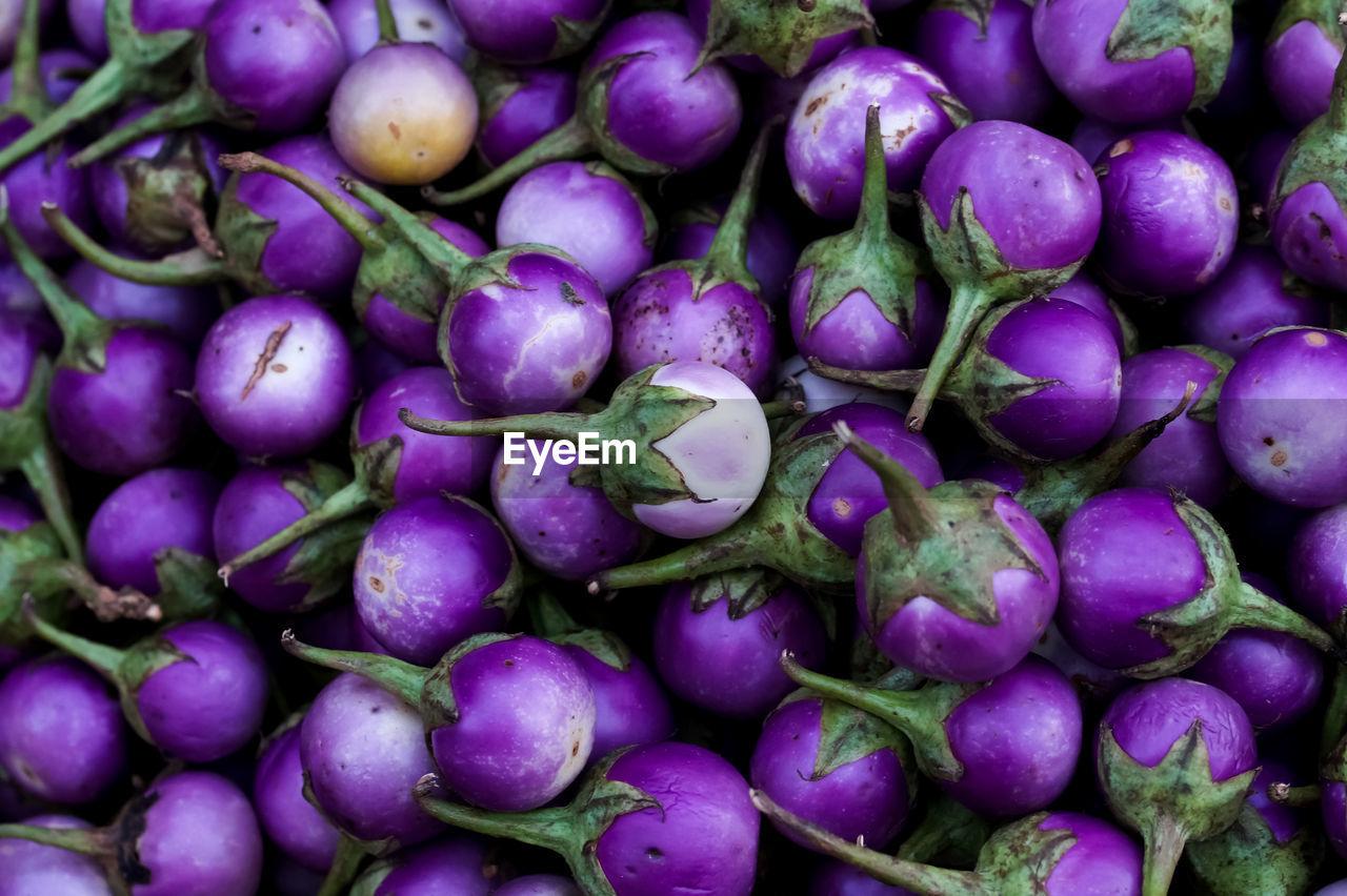 Full Frame Shot Of Eggplants At Market