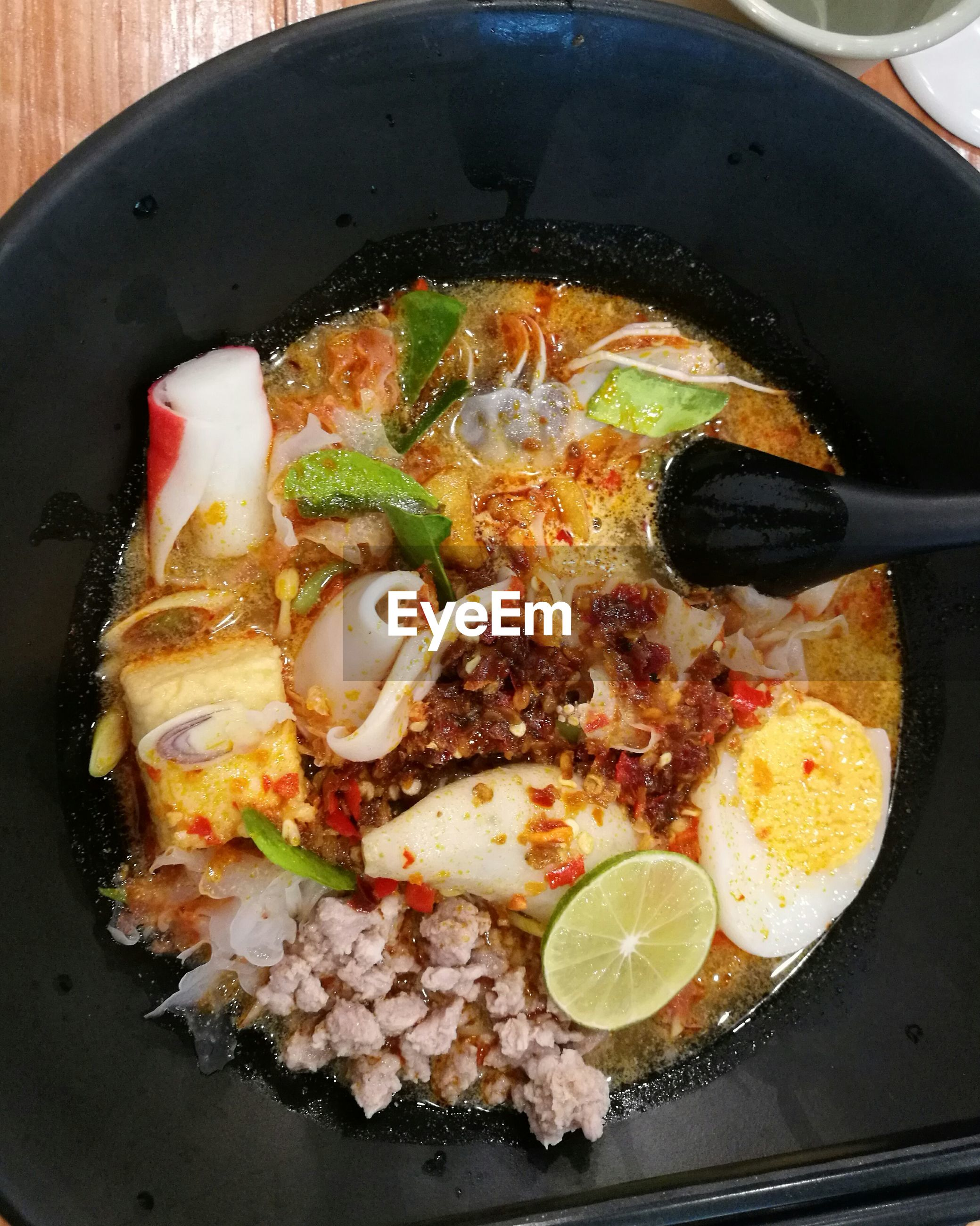 Directly above shot of food in frying pan