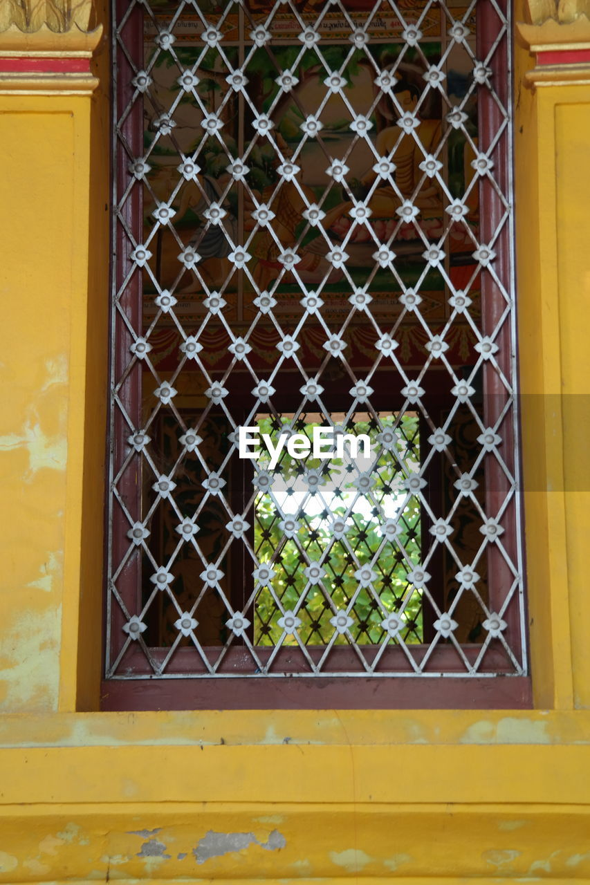 window, metal, architecture, day, built structure, outdoors, no people, building exterior, close-up, yellow