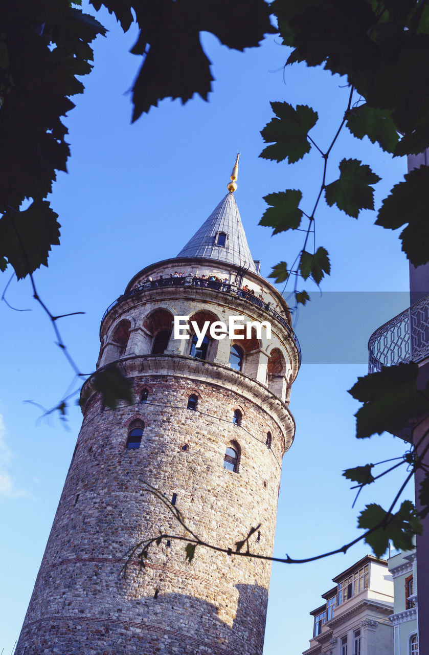 Low Angle View Of Galata Tower Against Sky