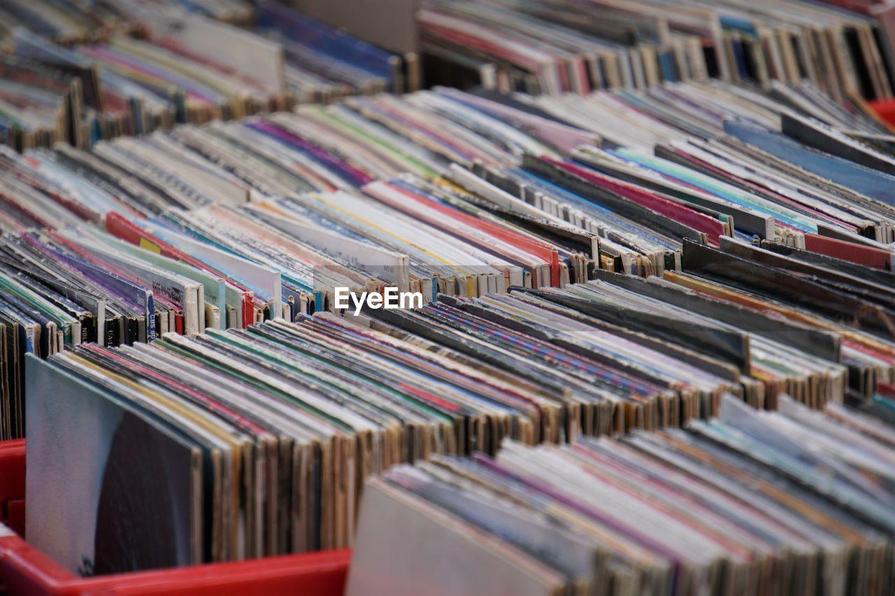 Full Frame Shot Of Records For Sale