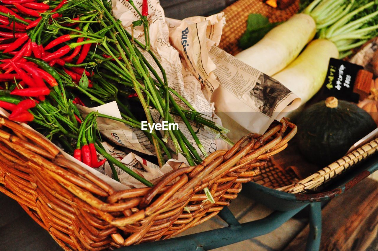 basket, high angle view, food and drink, vegetable, food, indoors, freshness, choice, healthy eating, no people, close-up, day