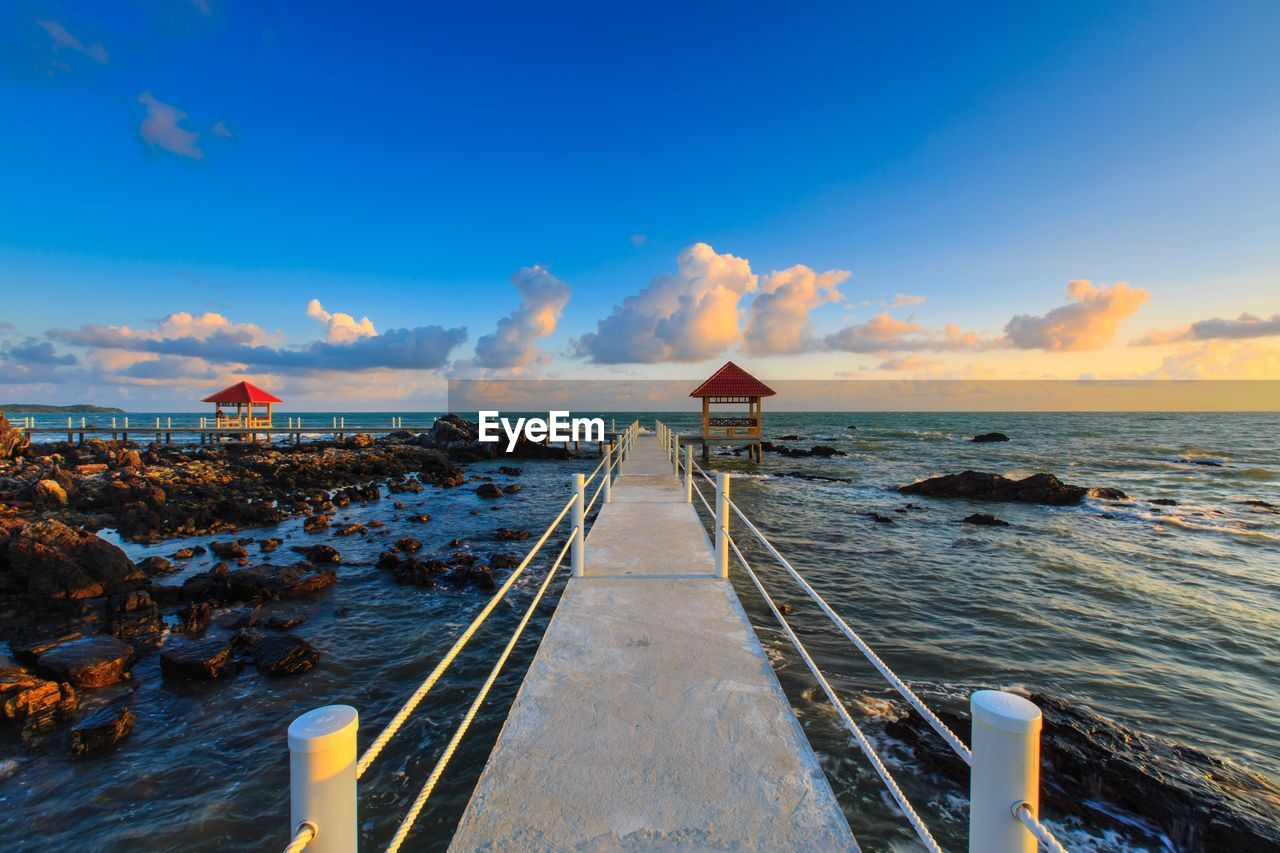 sky, water, sea, cloud - sky, scenics - nature, beauty in nature, horizon over water, horizon, blue, nature, built structure, beach, no people, tranquility, land, pier, architecture, direction, tranquil scene, outdoors