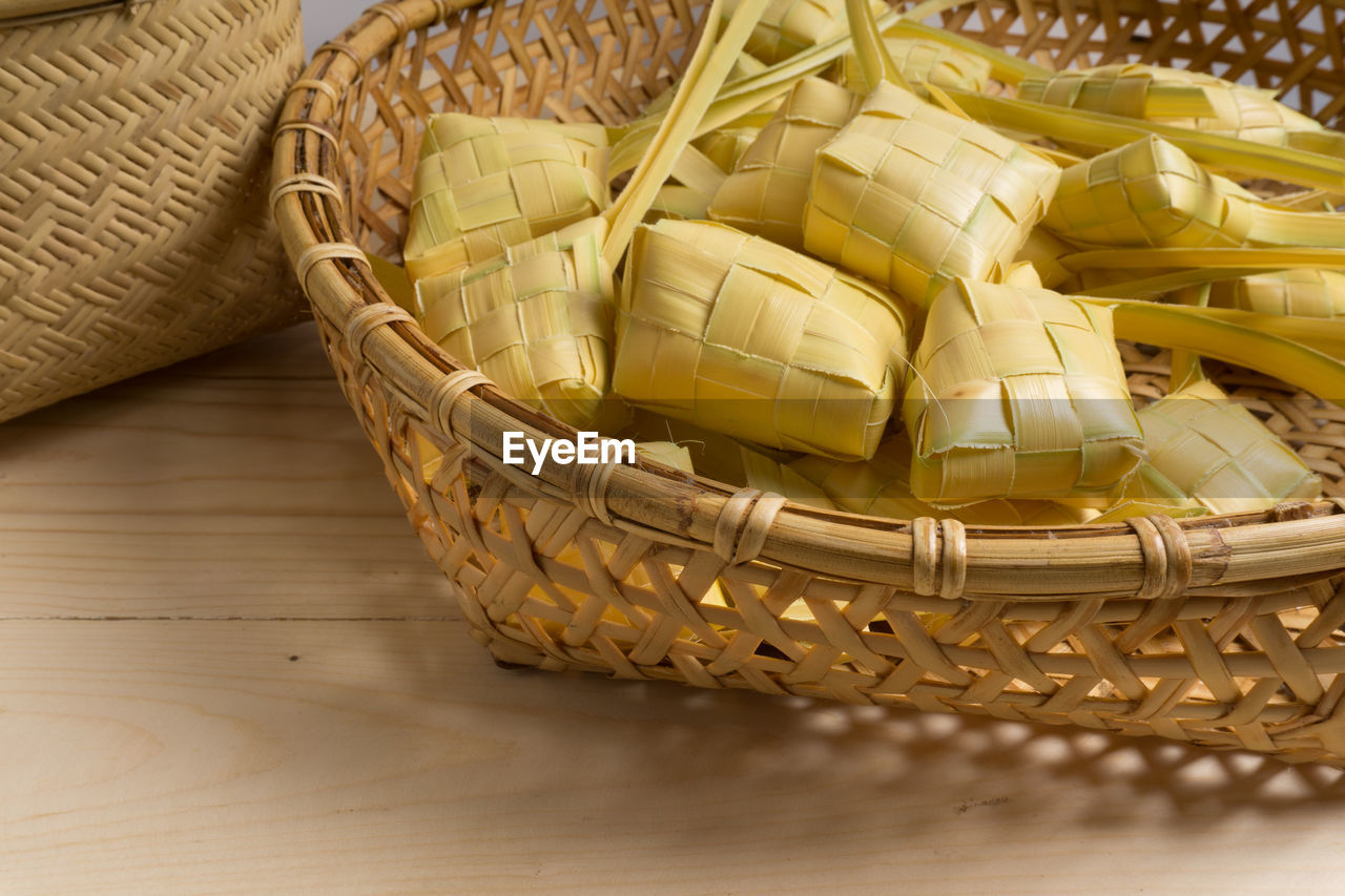 basket, still life, indoors, whicker, table, no people, close-up, day