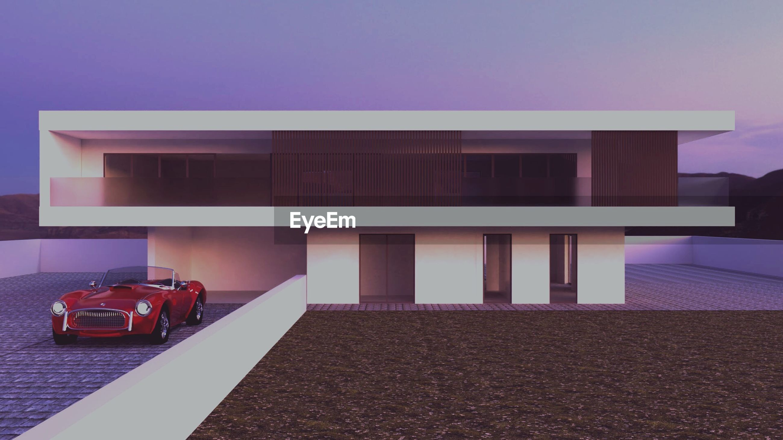 built structure, mode of transportation, building exterior, transportation, architecture, car, land vehicle, motor vehicle, no people, outdoors, toy, day, building, red, city, house, toy car, nature, sky, copy space, luxury