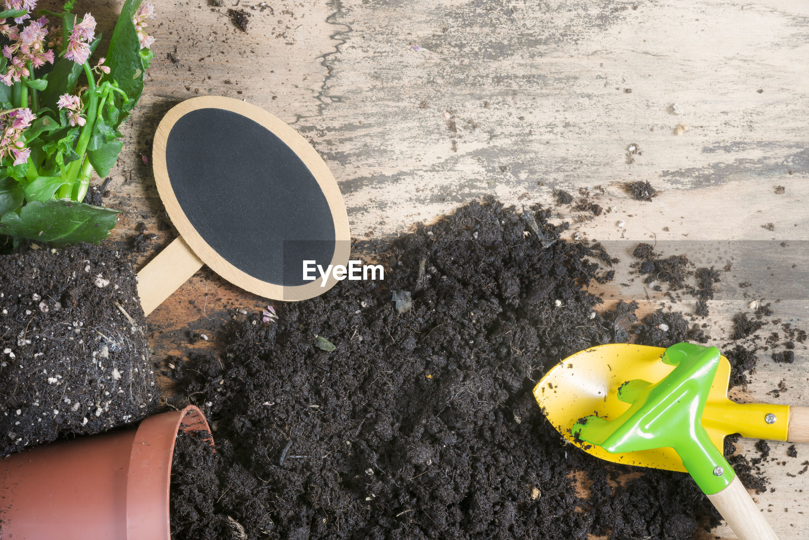 High angle view of soil with pot and gardening equipment