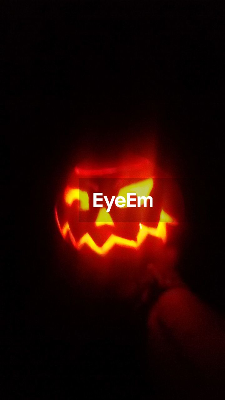 halloween, night, pumpkin, spooky, mystery, illuminated, anthropomorphic face, red, jack o lantern, no people, indoors, close-up