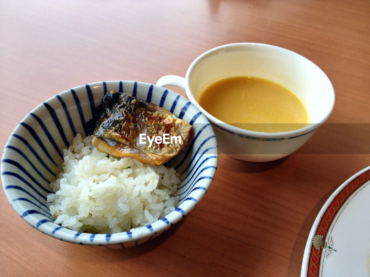 High Angle View Of Meal Served On Wooden Table