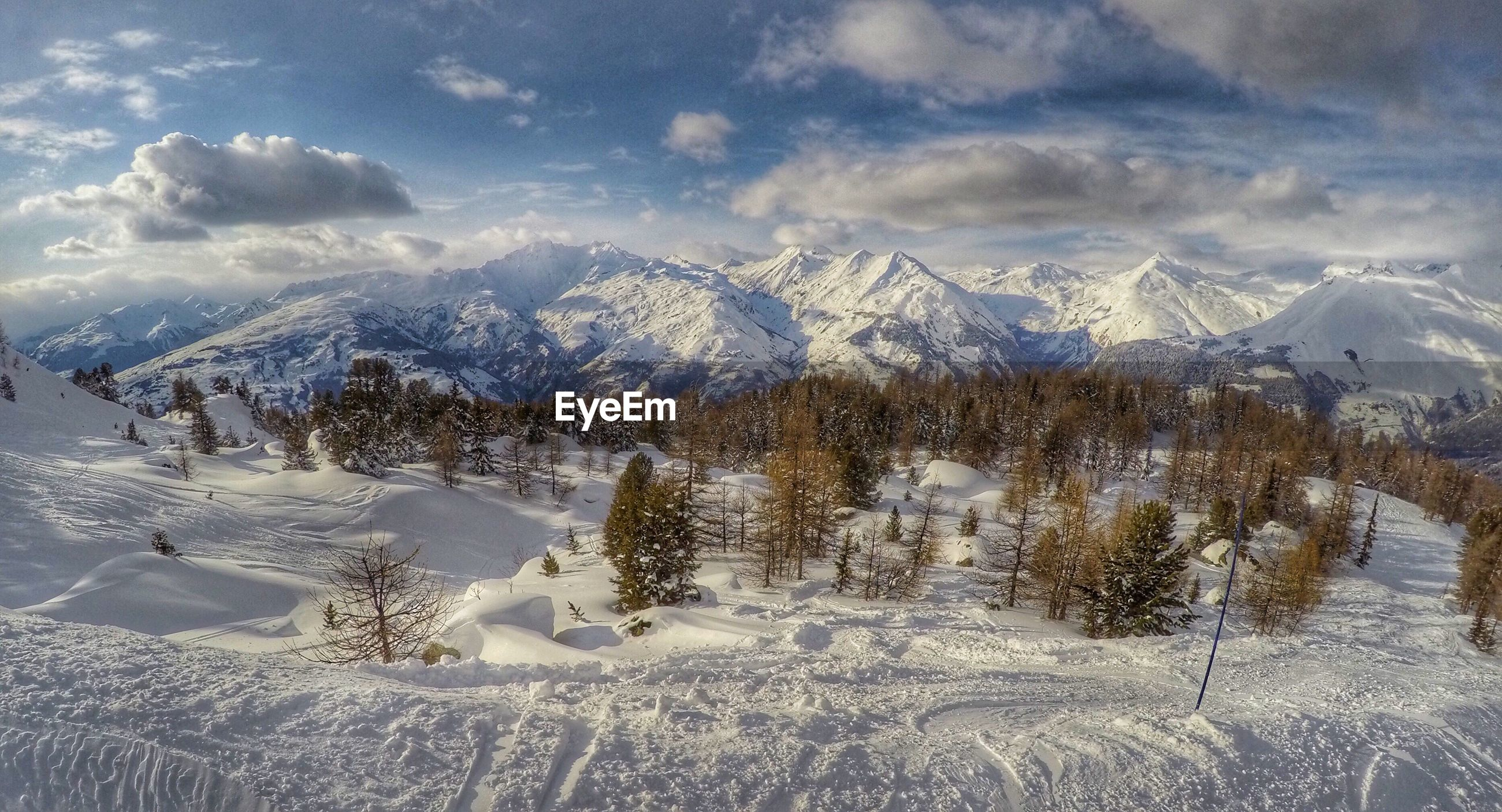 snow, winter, cold temperature, season, weather, tranquil scene, mountain, tranquility, sky, scenics, snowcapped mountain, landscape, covering, beauty in nature, frozen, nature, cloud - sky, mountain range, non-urban scene, white color
