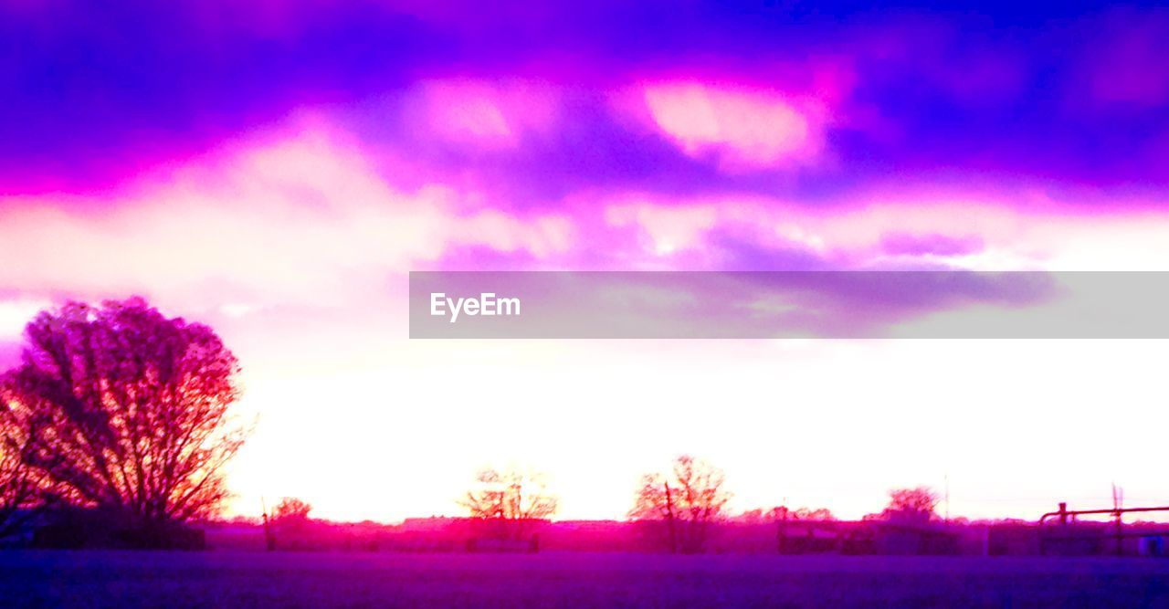 pink color, purple, sky, scenics, beauty in nature, nature, tranquility, tranquil scene, outdoors, no people, weather, sunset, tree, night, purple color, landscape, cloud - sky, winter, cold temperature, snow