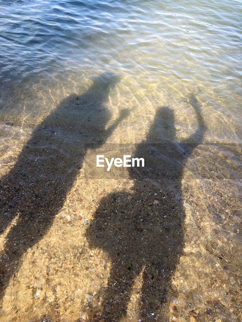 shadow, sunlight, focus on shadow, high angle view, outdoors, day, nature, real people, sand, standing, beach, water, one person, people