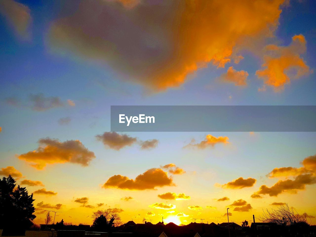 sky, cloud - sky, sunset, beauty in nature, orange color, scenics - nature, tranquility, tranquil scene, silhouette, no people, nature, low angle view, tree, outdoors, idyllic, plant, dramatic sky, environment, multi colored, romantic sky