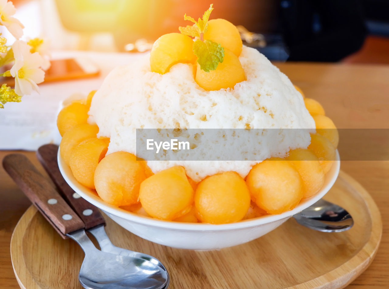 food and drink, food, freshness, sweet food, ready-to-eat, sweet, dessert, spoon, eating utensil, indulgence, kitchen utensil, close-up, table, indoors, temptation, unhealthy eating, plate, still life, dairy product, focus on foreground, no people, garnish