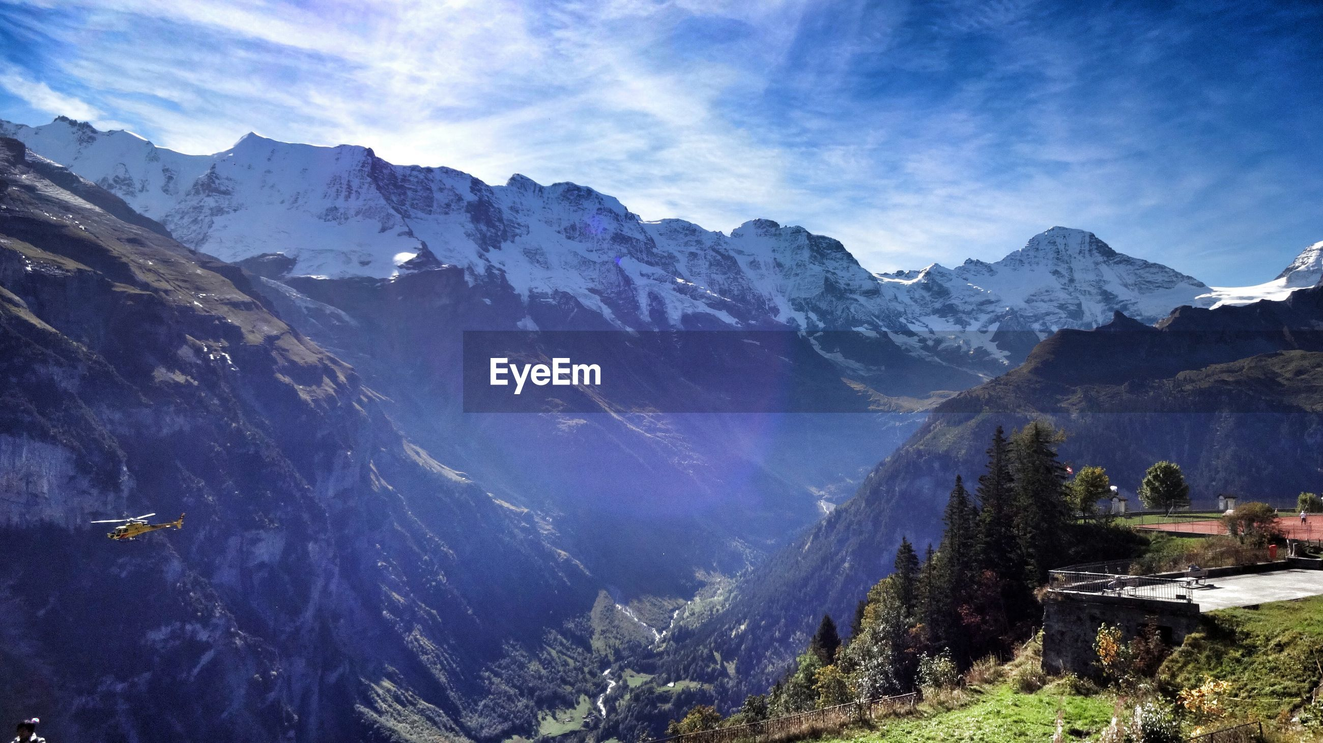 Scenic view of mountains against sky at murren